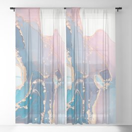 Luxury abstract painted teal, turquoise, pink and white texture with elegant gold veins Sheer Curtain