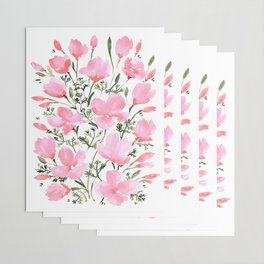 Pink watercolor poppies Wrapping Paper