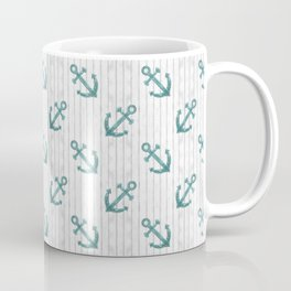 Teal Anchor Pattern Coffee Mug