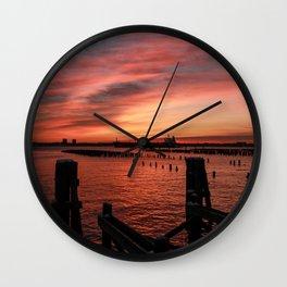 Sunrise & Pilings - Good Morning Wall Clock