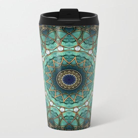 Majestic Topaz Ocean Kaleidoscope Metal Travel Mug
