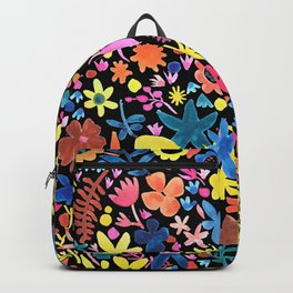 Autumm´s flowers and black Backpack