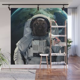 Pug dog astronaut and space dust in the universe Wall Mural