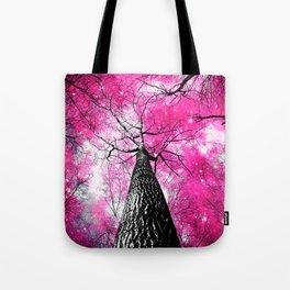 Wintry Trees Galaxy Skies Hot Pink Tote Bag