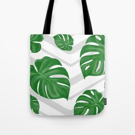 Monstera on chevrons Tote Bag