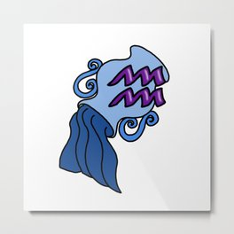 Aquarius - Astrology Sign Metal Print