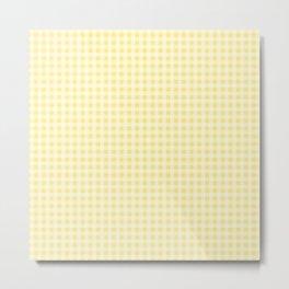 Summery Lemon Yellow Gingham Metal Print