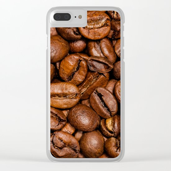 Shiny brown coffee beans Clear iPhone Case