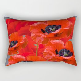 MONTAGE OF RED ORIENTAL POPPIES GREY COLOR ART Rectangular Pillow