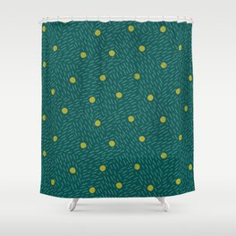 Polka dots and dashes // teal and olive Shower Curtain