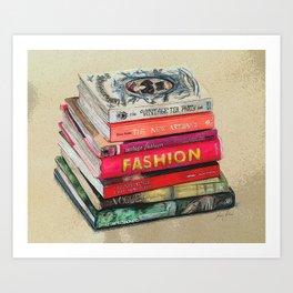 Art meets Fashion book stack (posterised) Art Print