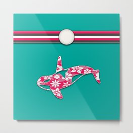 Teal and Pink Orca Stripes Animal Design Floral Pattern Metal Print