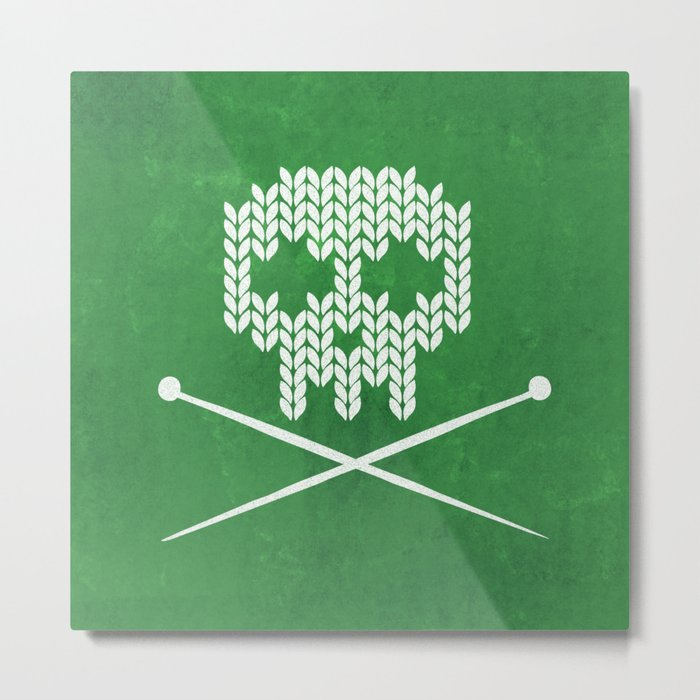 Knitted Skull - White on Deep Green Metal Print