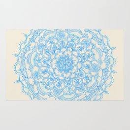 Pale Blue Pencil Pattern - hand drawn lace mandala Rug