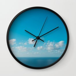 blue sky above ocean panorama with white clouds Wall Clock
