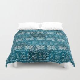 Blue, white Nordic pattern. Duvet Cover