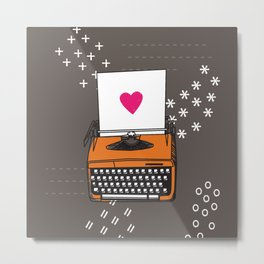 Vintage Typewriter Valentine Heart Metal Print