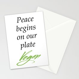 Peace begins on our plate - Vegan Stationery Cards