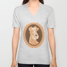 Irish Terrier Printmaking Art Unisex V-Neck