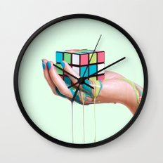 MELTING RUBIKS CUBE Wall Clock