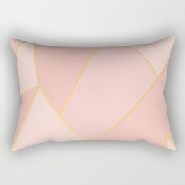 Elegant Pink Rose Gold Geometric Abstract Rectangular Pillow