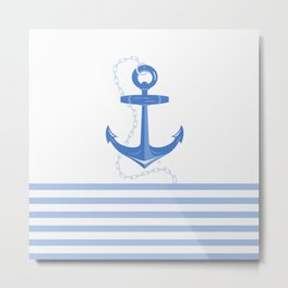 AFE Dark Blue Nautical Anchor Metal Print