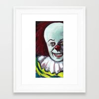 pennywise Framed Art Prints featuring Pennywise the Clown by Minerva Torres-Guzman