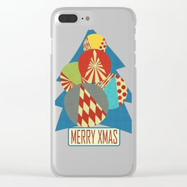 Christmas Tree minimalist blue Clear iPhone Case