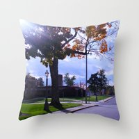 college Throw Pillows featuring College by Vickyyyy