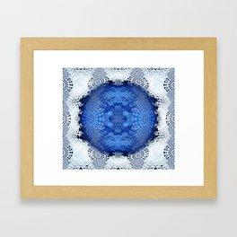 Gothic Blue Lace Distressed Mandala Framed Art Print