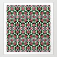 Floral Ethnic Contrast Pattern in Red, Black, White and Green Art Print