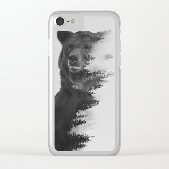 Observing Bear (black & white version) Clear iPhone Case