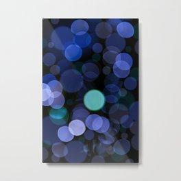 Blue bokeh circles blurry texture Metal Print