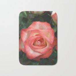 White to pink rose Bath Mat