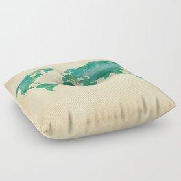 Watercolor World Map Floor Pillow