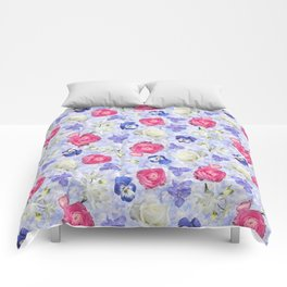 Rose Ranunculus Pansy Flowers over Pale Blue Comforters