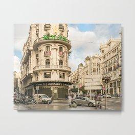 Gran Via Street, Madrid, Spain Metal Print
