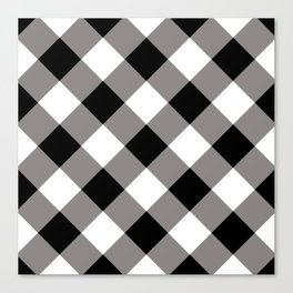 Gingham - Black Canvas Print