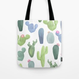 watercolor cacti plants pattern Tote Bag