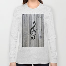 Vintage black music note Treble Clef gray wood Long Sleeve T-shirt