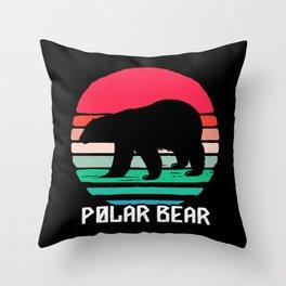 Polar Bear Retro Colorful Sunset White Bears Throw Pillow