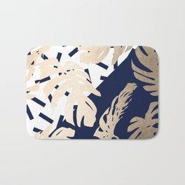 Simply Tropical Nautical Navy Memphis Palm Leaves Bath Mat