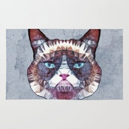 abstract grouchy cat Rug