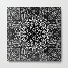 Black & White Paisley  Metal Print