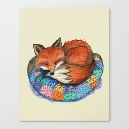 Sleeping Baby Fox On Patched Pillow Canvas Print