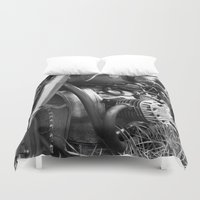 motorcycle Duvet Covers featuring motorcycle by Falko Follert Art-FF77