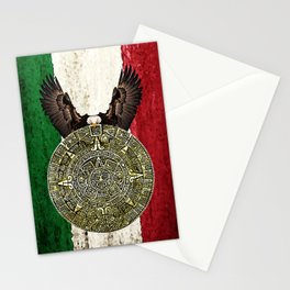 MEXICAN EAGLE AZTEC CALENDAR FLAG Stationery Cards