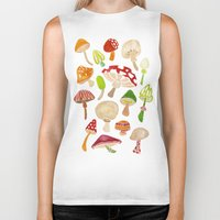 mushrooms Biker Tanks featuring Mushrooms by Cat Coquillette