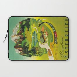 Austria Vintage Mid Century Modern Travel Poster Beautiful Green Mountain Landscape Diagram Laptop Sleeve