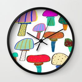 Mushrooms, mushroom print, mushroom art, illustration, design, pattern, Wall Clock